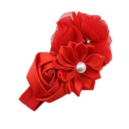 gluckliy bebé niñas diadema de Gasa con flores y perlas de imitación cinta para el pelo rojo rosso Talla:talla única
