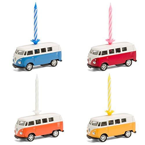 corpus delicti :: Kerze auf Rädern – VW Bus T1 Bulli – 4er Set gemischt (blau, orange, gelb, rot)