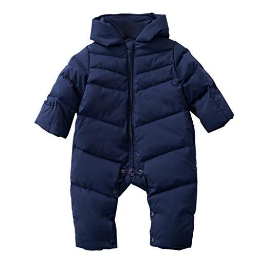 Bébé Combinaisons de Neige Barboteuse Duvet pour Bébé D'hiver à Capuche Imperméables Vêtements Marine 18-24 Mois