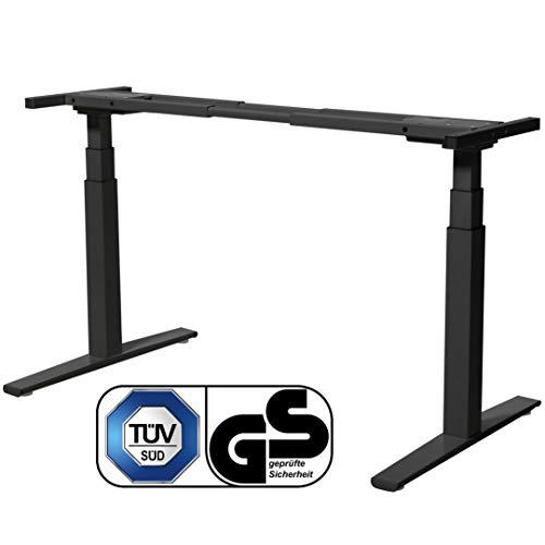 boho möbelwerkstatt Basic LINE elektrisch stufenlos höhenverstellbarer Schreibtisch in Schwarz mit...