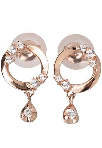 [ピンキーアンドダイアン]PINKY&DIANNE ダイヤモンド チャーム サークル K10 ピンクゴールドピアス (2P 両耳用) レディース 揺れる 天然