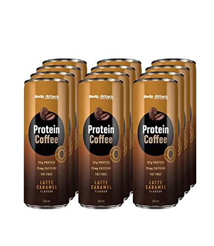 Body Attack Protein Coffee, Latte Caramel, 12 x 250ml, Eiskaffee mit Koffein, Arabica-Kaffeegetränk, erfrischendes Milchmischgetränk fettarm mit 25 g Eiweiß