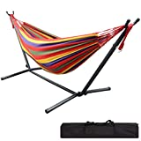 LIVINGbasics 9Ft Double Hammock with Space Saving Steel Stand Travel Beach Yard Outdoor