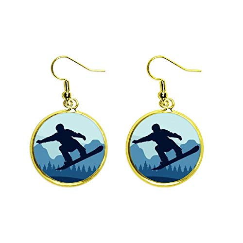 Hiver Sport Motif Costume De Ski et Bottes Oreille Dangle D'or Drop Boucle d'oreille Bijoux Femme