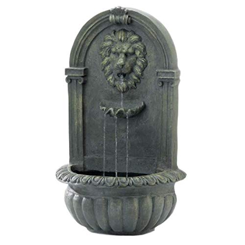 Cascading Fountains 10018868 Mossy Green Lion Wall Fountain, White