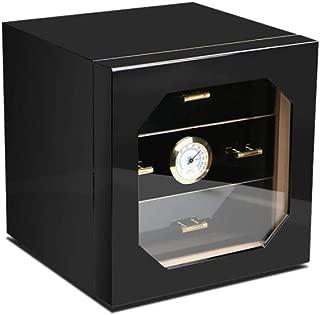 HUIJINCHAOSHI Cigarette Case, Cedar Wood Cigarette Case, Transparent Window, Three-layer Large-capacity Cigar Moisturizing Cabinet, Painted Black. Fashion