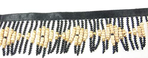 3 Yards Hanging Beaded Fringes- Unique Black Pearls with Natural Wood Beads Diamonds Pattern On Satin Ribbon Tape for Sewing Quilting Renaissance Dance Hawaiian Bridal Costumes Drapery- Value 3 Yards