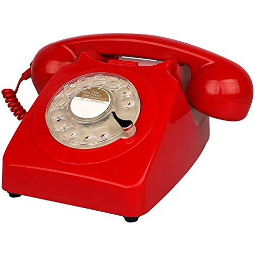 TRTT Teléfono Fijo con Cable de diseño Retro de línea Fija Retro Europea clásica - Teléfono de la Bobina de la Oficina en casa de la Mesa de Escritorio del Estilo del dial Giratorio clásico Retro