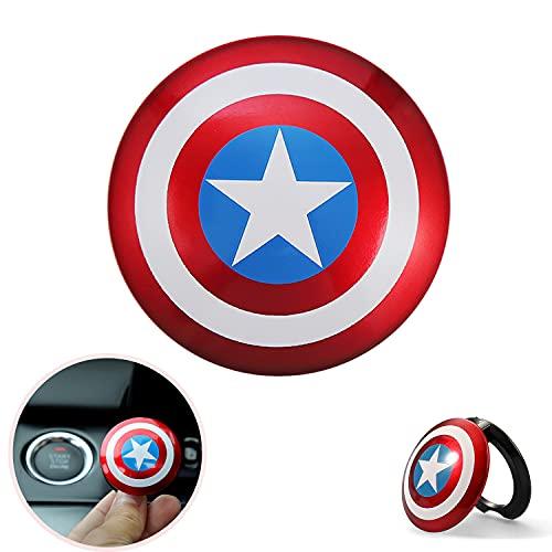Cubierta del Interruptor de Encendido del Botón,Cubierta de botón del Interruptor de Coche,Decoración de la Cubierta del botón de Arranque(Escudo del Capitán América)