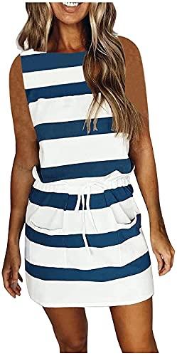 DLRBDMM Vestido casual sin mangas para mujer, cuello en V, con correa de empalme, con cinturón, sin mangas, mini vestido suelto (color: azul, tamaño: XL)