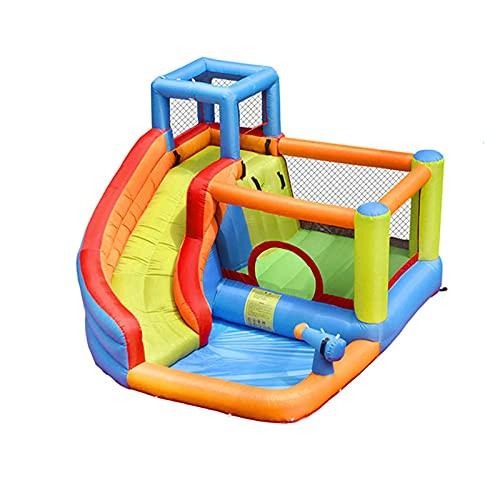 Tobogán acuático inflable para niños pequeños y niños pequeños y niños Poolshappy juguetes al aire libre, con pistola de agua escalada parque de diapositivas largo para niños, resistente y portátil