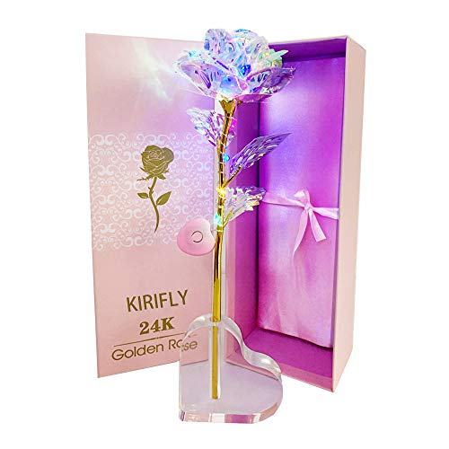 KIRIFLY Galaxy Rose Gifts Fake Roses Flowers Gold Eternal Rose Colorful Plastic Forever Flower Birthday Anniversary Engagement Gifts for Women