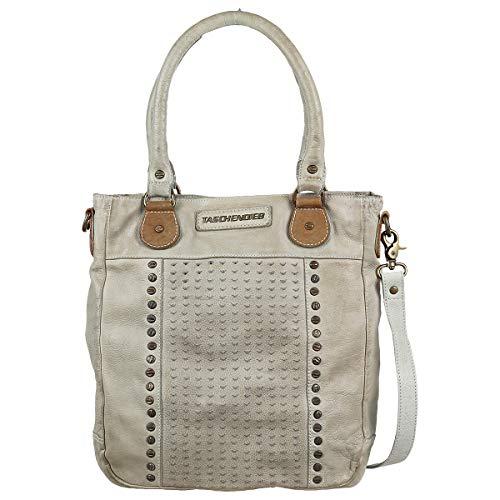Taschendieb Wien Leder Handtasche Schultertasche Handbag Tasche TD0621, Farbe:Beige