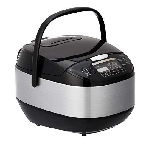 Amazon Basics - Arrocera multifunción con temporizador, conservación de calor y vaporera, 890W, 5 l, negro