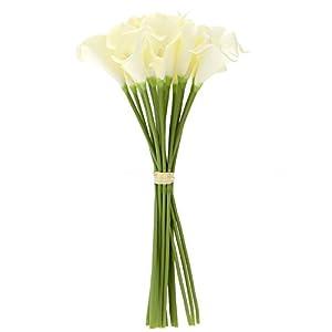 Gaoominy 18X Color de Decoración para El Hogar Real de Flores de Lirio Blanco de Cala única Artificial Color: Cremoso