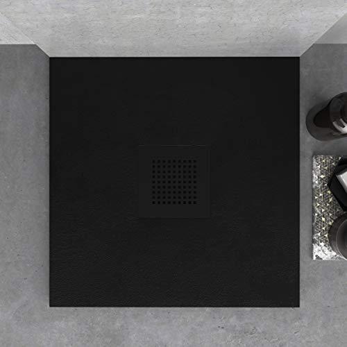 Plato de Ducha de Resina Mineral - Forma Cuadrada - Textura Pizarra,Antideslizante y Antibacteriano - Acabado Mate - Incluye Sifón y Rejilla de 23,5cm (70x70, Negro)