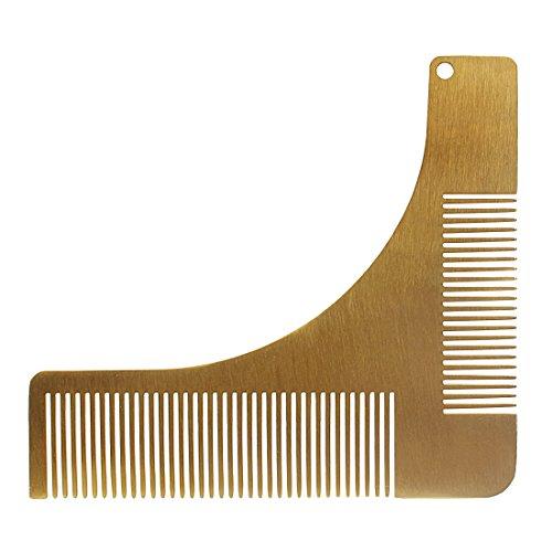 Andux Zone Barba Pettine in Acciaio Inox da Uomo Styling Barba Modella d'Argento BXGSZ-01 (d'oro)