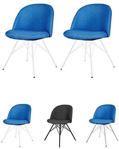 tenzo 3297-225 Designer Lot de 2 Chaises, Bleu pétrole/Blanc, Structure en contreplaqué Garni de Mousse et recouvert de Tissu 100% Polyester. Pieds en Acier laqué, 76,5 x 50 x 51,5 cm (HxLxP)