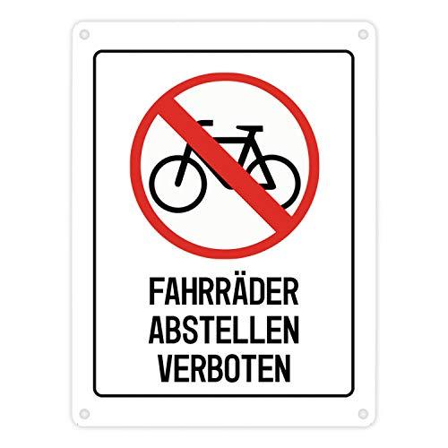trendaffe - Fahrräder abstellen verboten Warn- und Hinweisschild in Weiß mit Piktogramm