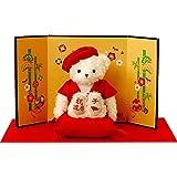 【プティルウ】還暦に贈る、赤いちゃんちゃんこを着た干支のメモリアルベア(金屏風) 2021年版【うし年】