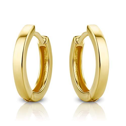 Orovi Schmuck Damen Ohrringe Gelbgold Hoop Creolen aus 14 Karat / 585 Gold