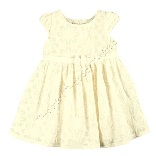 MMdadak Babykleid Romantisches Mädchenkleid Bestickt mit Tussahseide Creme Ivory Taufkleid Nr. 5 (62)