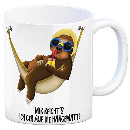 trendaffe - Kaffeebecher mit Faultier in Hängematte Motiv und Spruch: Mir reicht's ich GEH auf die Hängematte