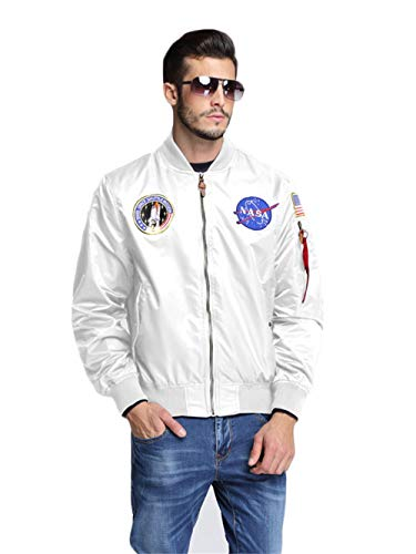 CORIRESHA Mens NASA Embroidery Badge Slim Fit Bomber Jackets Zipper Windbreaker White
