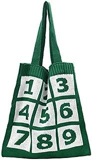 TOOGOO Fashion Women's Knitted Storage Bag Digital Printing Handle Bag Foldable Shopping Bag Large Capacity Green