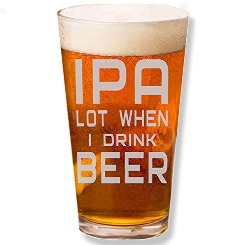 ANVPI Veel Wanneer Ik Drink Bier Gegraveerde Bier Pint Glas - Grappig Zeggen Bier Glas Drinken Lover Gift