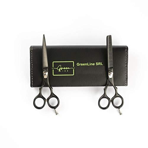 10808 - Juego de tijeras y estilizador de peluquería Impu. Clásica 5, 5,5 y 6 polici medido sanza condololo Barber shear n thinning. Incluye funda (5 Policis)