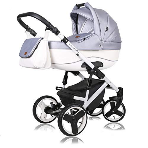 Kinderwagen 3 in 1 Komplettset mit Autositz Isofix Babywanne Babyschale Buggy Carmelo White by ChillyKids Candy Shine 188 3in1 mit Babyschale