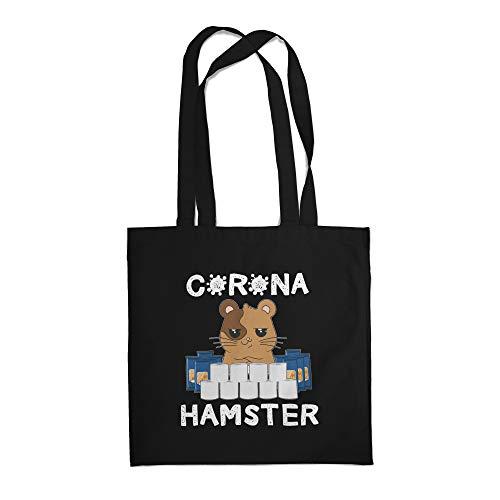 Fashionalarm Stoffbeutel - Corona Hamster | Fun Beutel Baumwoll-Tasche mit Spruch Geschenk-Idee Hamsterkäufe 2020 COVID-19 Corona-Satire Virus, Schwarz One Size