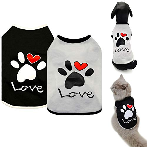 Brocarp Dog Shirt Puppy Clothes, 2 Pack Dogs T-Shirt Basic Vest Outfits, Pet Apparel Doggy Tee Tank Top Sleeveless for Small Medium Large Boy Girl Cats Kitten, Cotton Soft and Breathable Tshirts (XS)