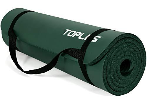TOPLUS - Esterilla de gimnasia gruesa, sin ftalatos, antideslizante, respetuosa con las articulaciones, para yoga, pilates, deportes, con práctica correa de transporte, 183 x 61 x 1 cm, verde