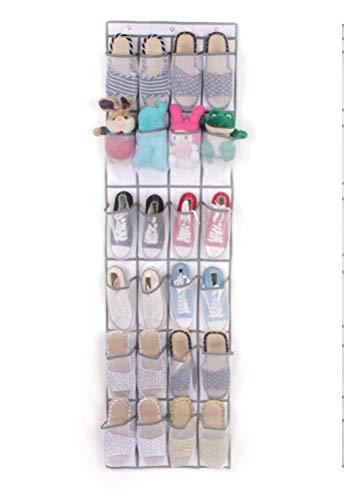 "YJBear 24 Pockets Non-Woven Over The Door Shoe Organizer Storage Pocket Bag Hanging Shoe Storage Rack with 3 Strong Metal Hook Shoe Hanger White 19"" X 66"""