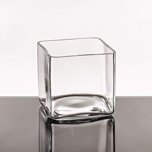 Jarrón Cuadrado Minimalista Transparente de Cristal para salón Basic - LOLAhome