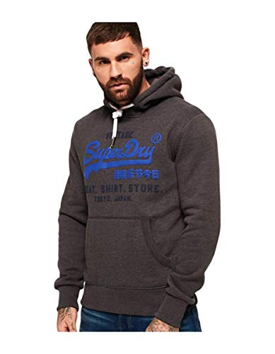 Superdry Herren Sweat Shirt Shop Duo Hoodie Kapuzenpulli, Winterkohlemarl, Mittel