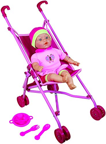"""Lissi Doll Umbrella Stroller Set with 16"""" Doll Role Play Toy"""