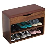 RICOO WM032-EC-B Banco Zapatero 60x42x30cm Armario Interior con Asiento Organizador Zapatos Mueble recibidor Perchero...