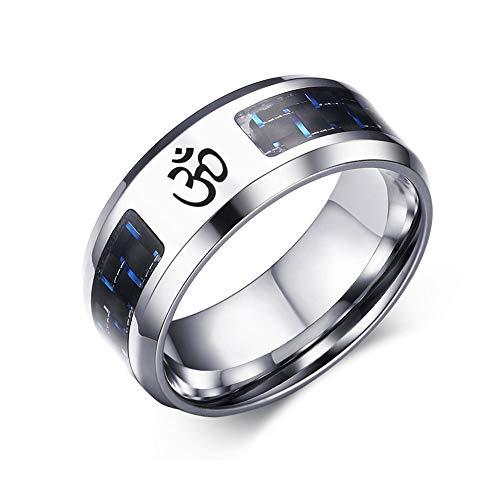 HAMANY Joyería Religiosa Hinduismo de Acero Inoxidable Símbolo OM Yoga Anillos de Fibra de Carbono Azul para hombresTalla 7-12