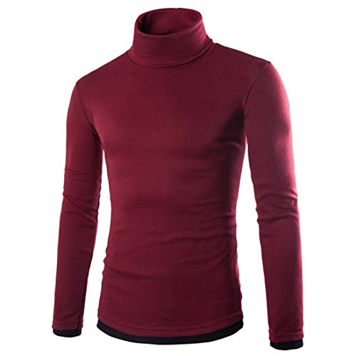 ZCZH Men's T Long Sleeve Shirts Mens Autumn New Casual Jumper Classic Solid Color Tops Spring Turtleneck All-Match T Shirts Winter Warm Breathable Pullover XXL