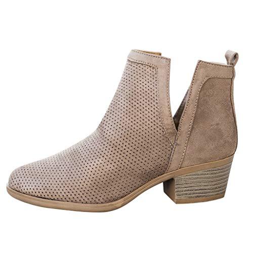 HDUFGJ kurz Boots Damen Chelsea Boots Hohl Flach Stiefel Frauen Kurzschaft 5cm Absatz Ankle Boots Outdoor Plus Samt warme wasserfeste gefüttert Chelsea Herbst Winter38.5 EU(Grau)