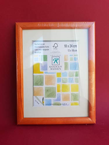 Randolff Natur-Holz-Rahmen orange 18x24 (13x18 mit Passepartout)