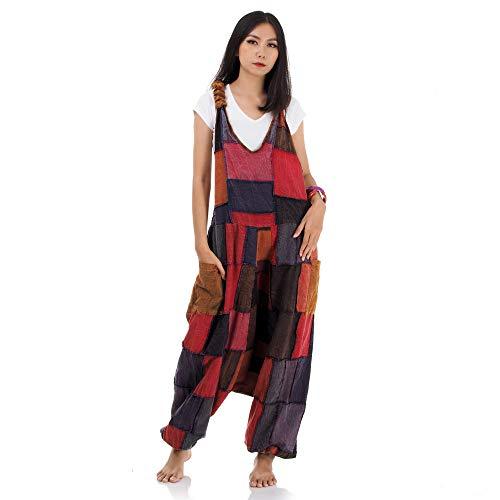 Princess of Asia Hippie Jeans Hose Overall Haremshose Latzhose Pumphose für Damen 36 38 40 42 (Weinrot)