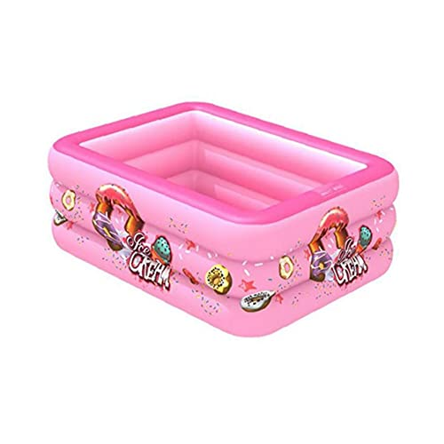 LAANCOO Piscina Inflable 3 Capa Cuadrada Niños Summer Blow Up Pool Pool Pink 130cm para Piscinas