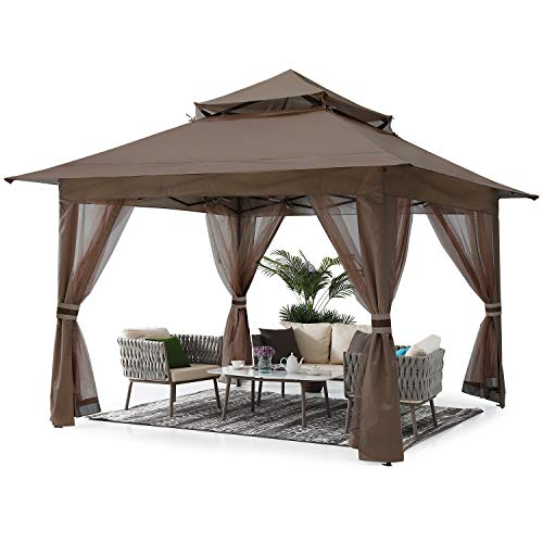 ABCCANOPY 11'x11' Gazebo Tent Outdoor Pop up Gazebo Canopy Shelter with Mosquito Netting (Brown)