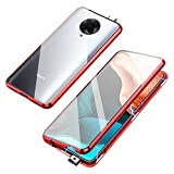 Jonwelsy Magnetic Adsorption Case for Xiaomi Poco F2 Pro/Redmi K30 Pro, 360 Degree Front and Back Clear Tempered Glass Flip Cover, Metal Bumper Frame for Xiaomi K30 Pro (Red)