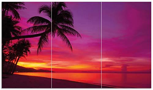 Wallario Herdabdeckplatte/Spritzschutz aus Glas, 3-teilig, 90x52cm, für Ceran- und Induktionsherde, Abendrot unter Palmen - Pinker Himmel am Strand