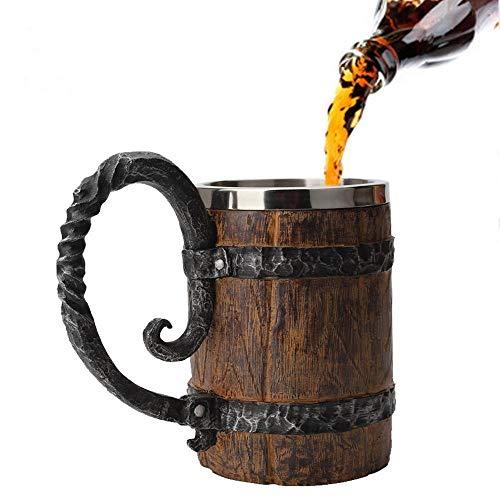 Baiwka Handgemachte Bierkrug, Holzimitat Edelstahl Tasse, Holz Geschenke rustikale Holzfass Becher für Männer Kapazität: 18,60 Unzen (550 ml)